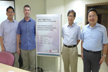2018-08-09_Presentation by TFD Dissertation Fellow Andrew Greve_Group photo (from left to right): TFD Vice President Yeh-Chung Lu, Dissertation Fellow Andrew Greve, NCCU Diplomacy Department Dean and Associate Professor Hong-yi Lien, and NCCU Graduate Institute of East Asian Studies Professor Emeritus Arthur S. Ding