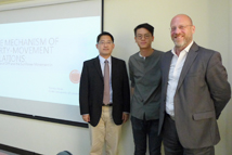 2018-08-13_Presentation by TFD Dissertation Fellow Tommy Chung Yin Kwan_ Group photo (from left to right): TFD Vice President Yeh-Chung Lu, Dissertation Fellow Tommy Chung Yin Kwan, and Mr. J. Michael Cole