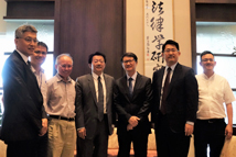 2019/07/30_Signing of the MOU with the Institutum Iurisprudentiae, Academia Sinica_Group photo (from left to right: Dr. Allen Peng, Director of the Department of Research and Development of TFD; Dr. Jimmy Chia-Shin Hsu, Associate Research Professor at IIAS; Dr. Tze-Shiou Chien, Deputy Director of IIAS; President Liao; Director Lee; VP Lu; Dr. Yen-Tu Su, Associate Research Professor at IIAS)