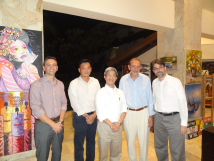 Group photo of TFD President Szu-chien Hsu(center),  Director Bo Tedards(first from the right), Director Eric  Yu(second from the left), National Democratic Institute  Regional Director for Asia Programs, Peter Manikas (second from the right), and Elections and Political  Processes Senior Program Manager, Michael McNulty (first from the left)